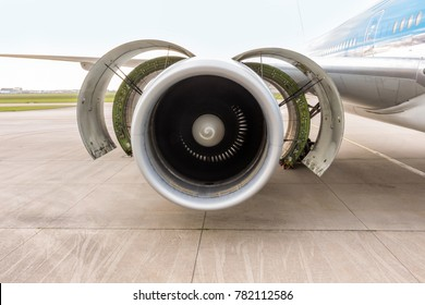 Front view of airplane's engine during maintenance