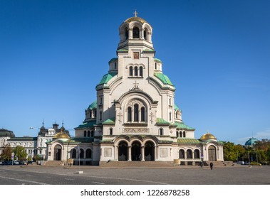 Front view of Alexander Nevsky Cathedral in Sofia, the capital of Bulgaria