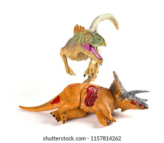 front view allosaurus with a triceratops body nearby on white background