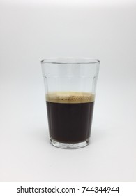 Front view of an american glass with coffee on white background (isolated)