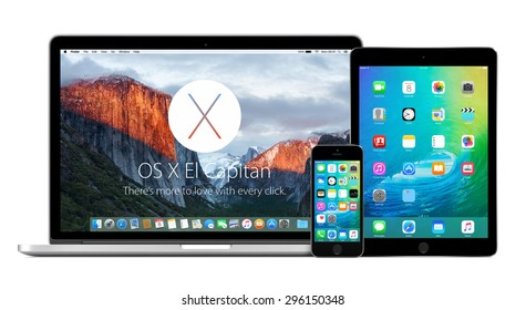 Front view of Apple MacBook Pro Retina with OS X El Capitan on the display, iPhone 5s and iPad Air 2 with iOS 9 on the displays. Isolated on white background. Varna, Bulgaria - February 02, 2015.