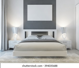 Front view of art deco bedroom with mocap poster on the wall with two night tables and a white shaggy carpet. Soft light from the window falls into the luxury bedroom. 3D render.