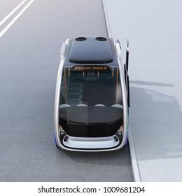Front view of autonomous shuttle bus waiting at bus station. 3D rendering image.