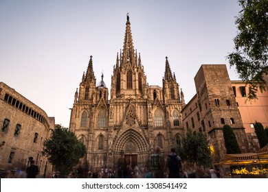 Front view of Barcelona's gothic Cathedral at dusk, also known as La Seu, located in the heart of Barcelona's Gothic Quarter. Long exposure.