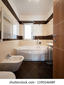 Front view bathroom with brown tiles, modern. Nobody inside