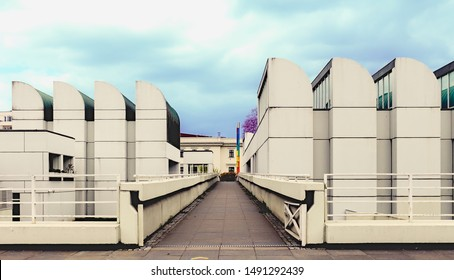 Front view of Bauhaus building at Berlin Germany on a cloudy day at an eye angle view.