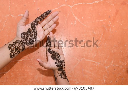 Front View Beautiful Henna Arabic Design Stock Photo Edit Now