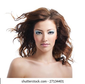 Front view of beauty and sexy woman with blown hairs