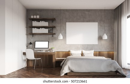 Front view of bedroom in big city. Master bed with horizontal poster, computer on desk. Bookshelves. 3d rendering. Mockup.