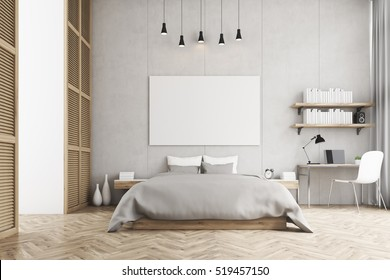 Front View Of A Bedroom With King Size Bed, A Bookshelf, A Table And
