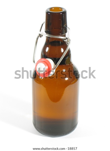 Front view of a beer bottle.