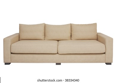 Front view beige couch on white.