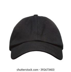 Vorderansicht der schwarzen Baseballkappe einzeln auf weißem Hintergrund