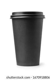 Front view of black disposable paper coffee cup with lid isolated on white