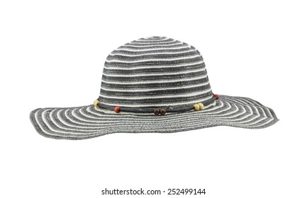 Front view black floppy hat isolated on white background