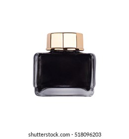 front view of black ink bottle with golden metallic cap isolated on white