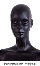 Front view of a black mannequin dummy head isolated on white background, studio shot
