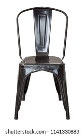 front view of black metal chair isolated on white with clipping path