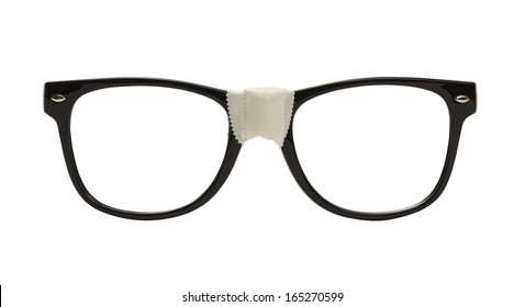 Front View Black Nerd Glasses with Tape, Isolated on White Background.