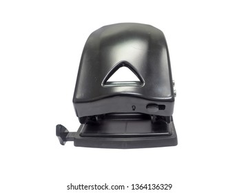 front view of black paper hole puncher of office stationery isolated on white background