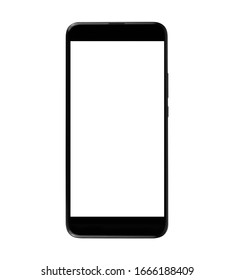 Front view. Black smartphone with blank touch screen. Isolated with clipping path on white background