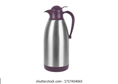 Front view of a black steel operating by pressing thermos isolated on white background.