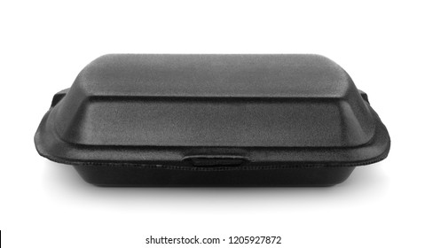 Front view of black styrofoam food container isolated on white