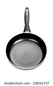 Front view of black and white frying pan isolated on white background