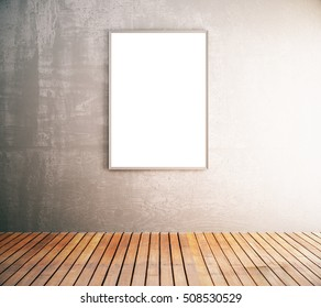 Front view of blank picture frame in interior with concrete wall and wooden floor. Mock up, 3D Rendering