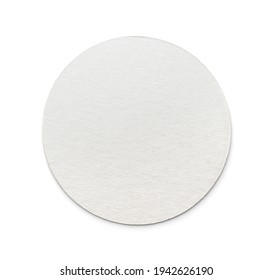 Front view of blank round cardboard beer coaster isolated on white