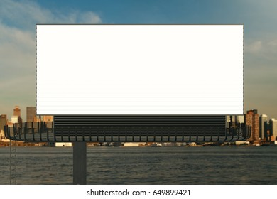 Front view of blank signboard on waterfront city background. Commerce concept. Mock up, 3D Rendering
