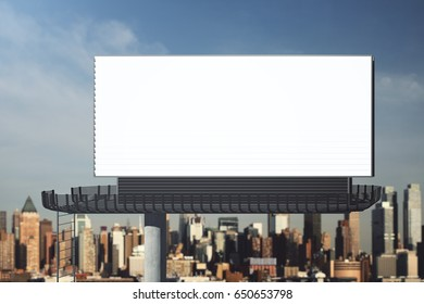 Front view of blank signboard on city background. Retail concept. Mock up, 3D Rendering