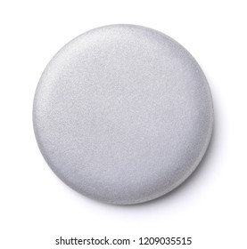 Front view of blank silver button badge isolated on white