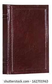 Front view of blank vintage book isolated on white background