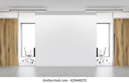 Front view of blank white wall in office  interior. Mock up, 3D Rendering