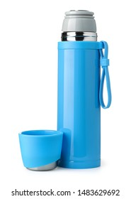 Front view of blue metal thermos flask isolated on white