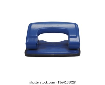 front view of blue paper hole puncher of office stationery isolated on white background