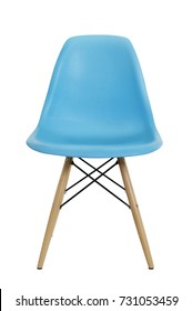 Front view of blue plastic chair isolated on white