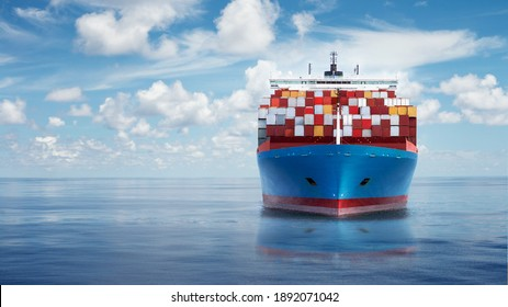 Front view from bow of a large blue shipping container ship in the ocean.