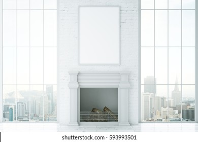 Front view of bright interior with fireplace, blank picture frame and city view. Mock up, 3D Rendering