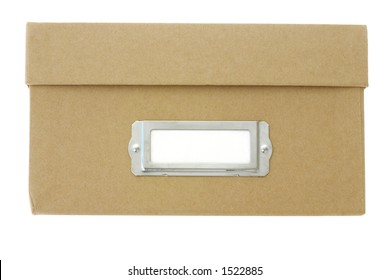 Front view of a brown cardboard storage box with index