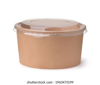 Front view of brown disposable paper bowl with plastic lid isolated on white