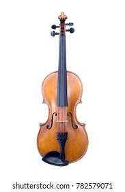 Front view of a brown violin isolated on white background