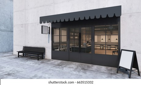 Front View Cafe Shop U0026 Restaurant Design. Modern Loft Counter Steel Black.  Top Counter