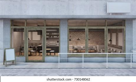 Front view Cafe shop & Restaurant design. Modern Loft counter steel black. Top counter concrete,Door frame wood, Brick Concrete wall - 3D render