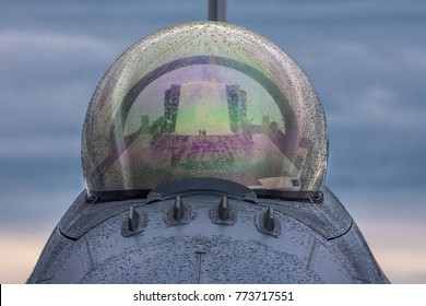 Front view of canopy of F-16 Fighting Falcon fighter