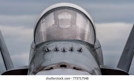 Front view of canopy of F-18 Hornet fighter