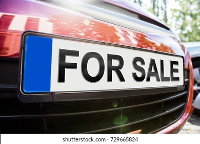 Front View Of Car With The Text For Sale