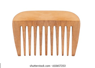 front view of children small brown wooden comb with large teeth isolated on white