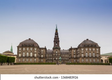 Front view of Christiansborg Palace, the Danish parliament, in Copenhagen, Denmark